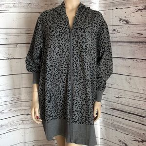 Lane Bryant gray black animal print zip up jacket